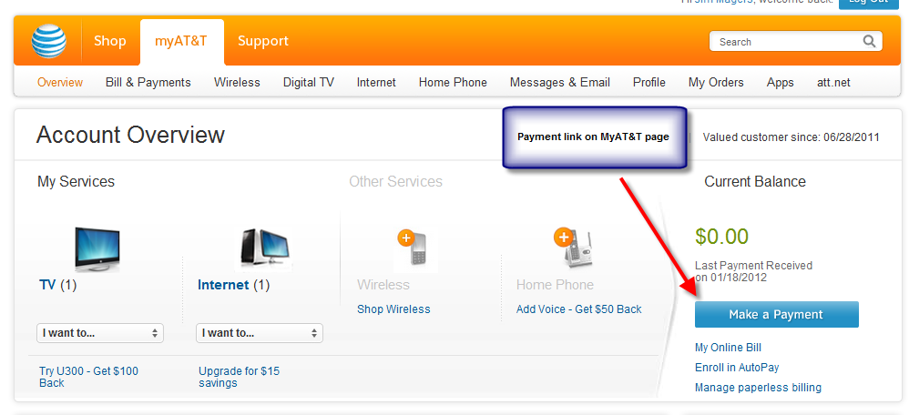 MyAT&T page with Bill Payment