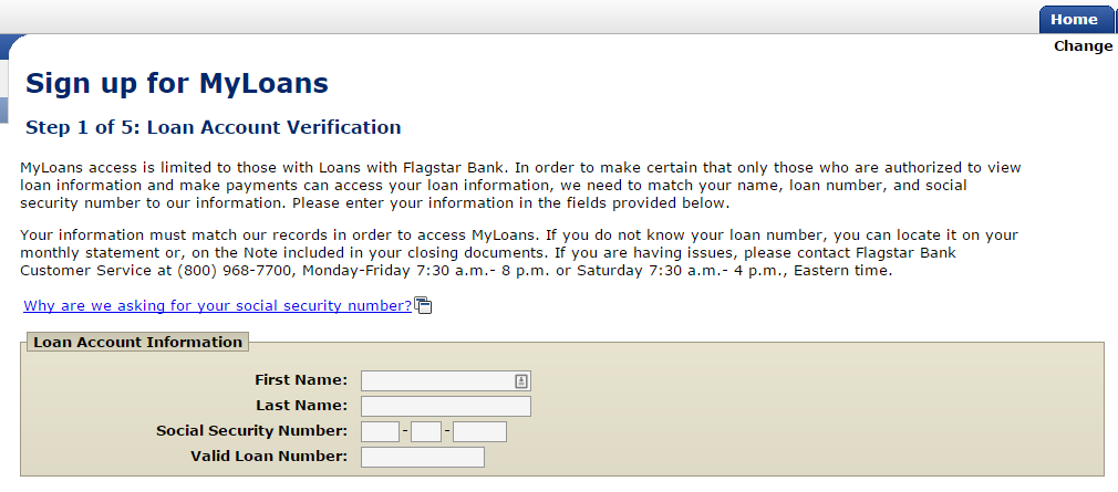 www.flagstar Sign up for MyLoans