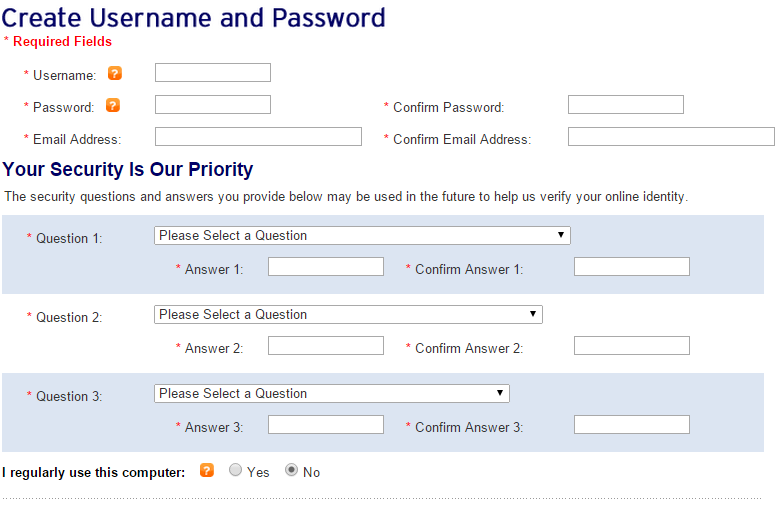 Create Username Password